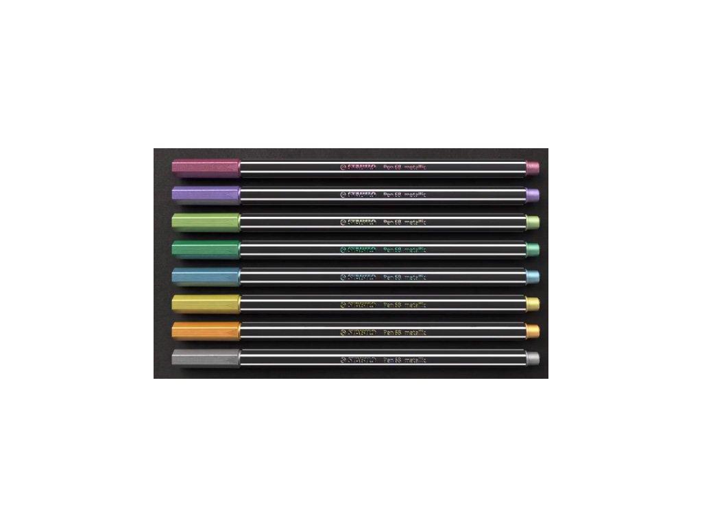STABILO Pen 68 - vláknový fix - metalické barvy (1 ks) (Barva zlatá)