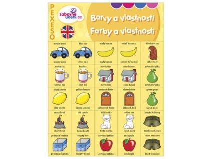 Jazykové pexeso Angličtina Barvy a vlastnosti 1