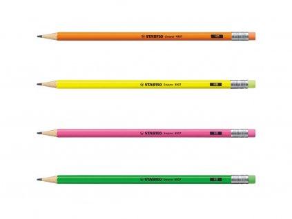 STABILO Swano Neon - grafitová tužka s pryží (1 ks)  (HB = 2) (Barva žlutá)