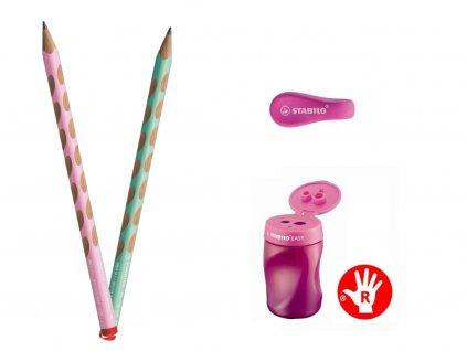 Sada Psaní pro předškoláky a školáky praváci (pastelová růžovo zelená)