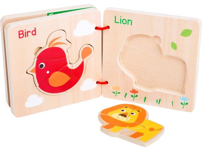 Dřevěná kniha puzzle ZVÍŘÁTKA 1