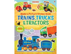 Make a picture sticker books Trains, trucks and tractors