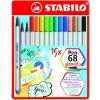 STABILO Pen 68 brush - kreativní fix - plechové pouzdro (15 ks/25 ks) (Počet kusů 25)