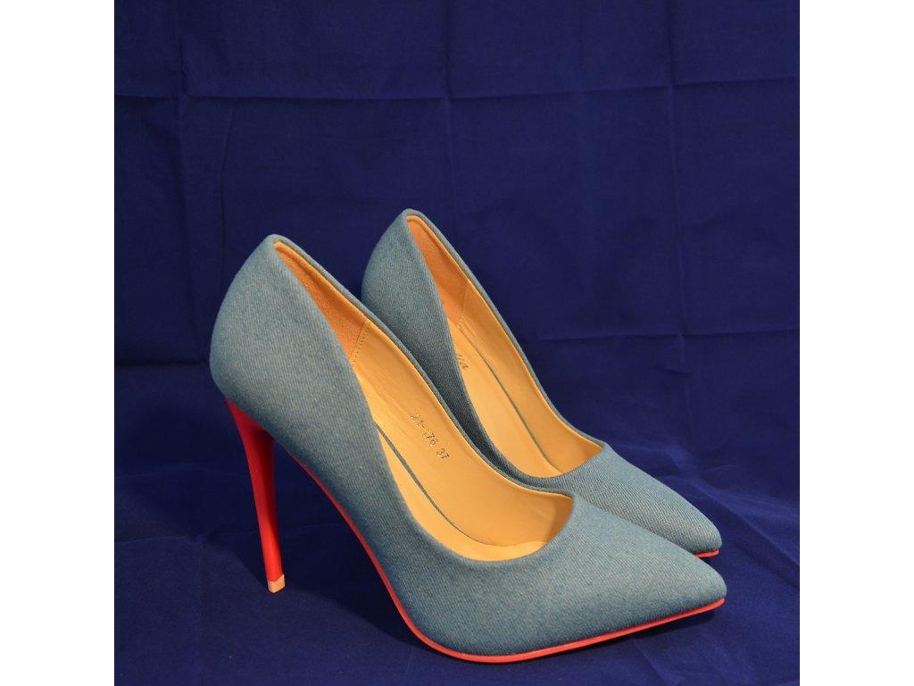 Boty Modré na podpatku (Pohled ze strany)