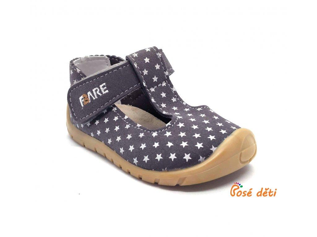 Fare Bare 5062261 - sandály textilní hvězdičky šedé