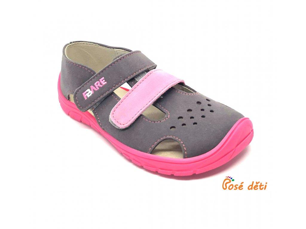 Fare Bare 5262252 - sandály textilní šedorůžové