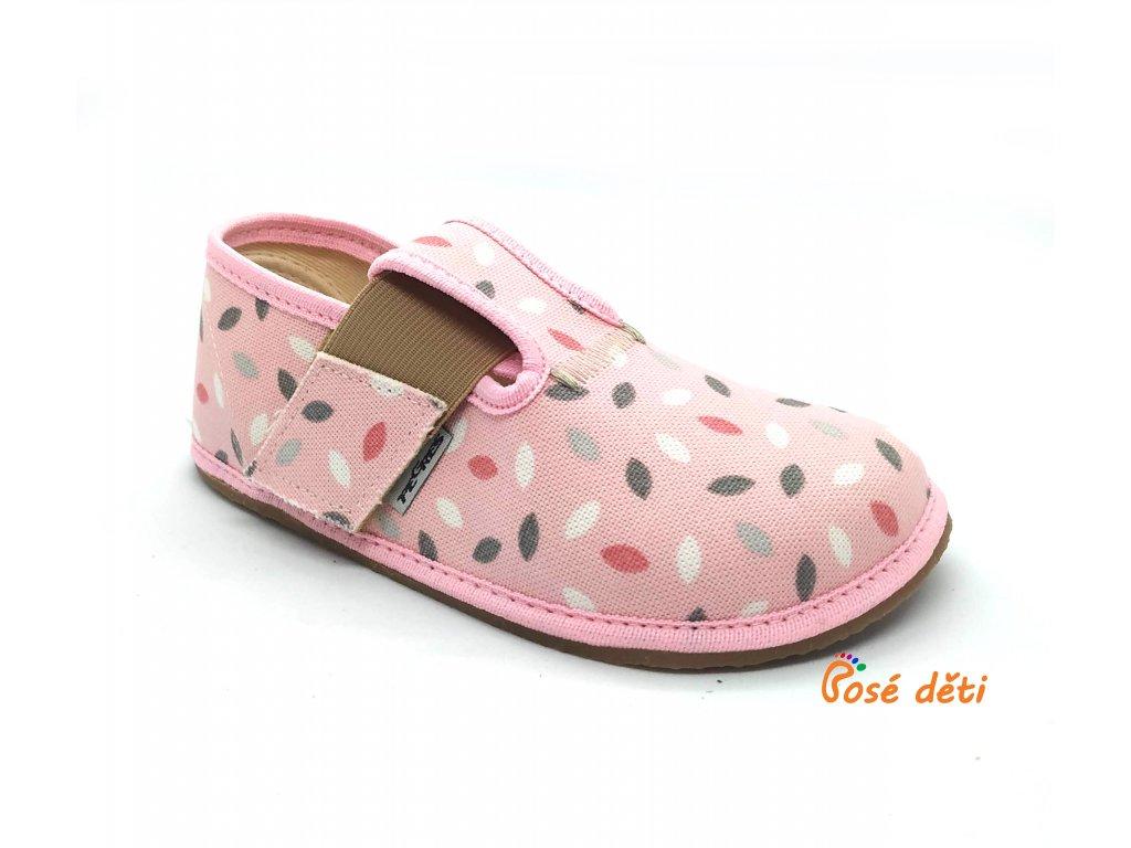 Barefoot Pegres papuče BF01 - růžové lístky