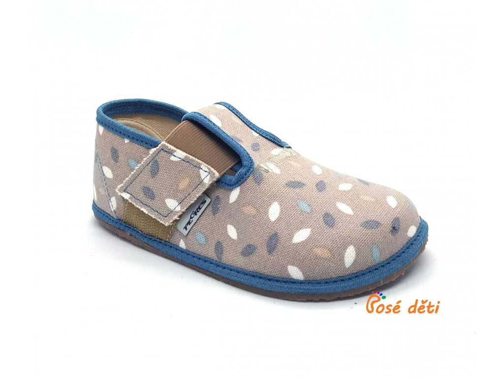 Barefoot Pegres papuče BF01 - modré lístky