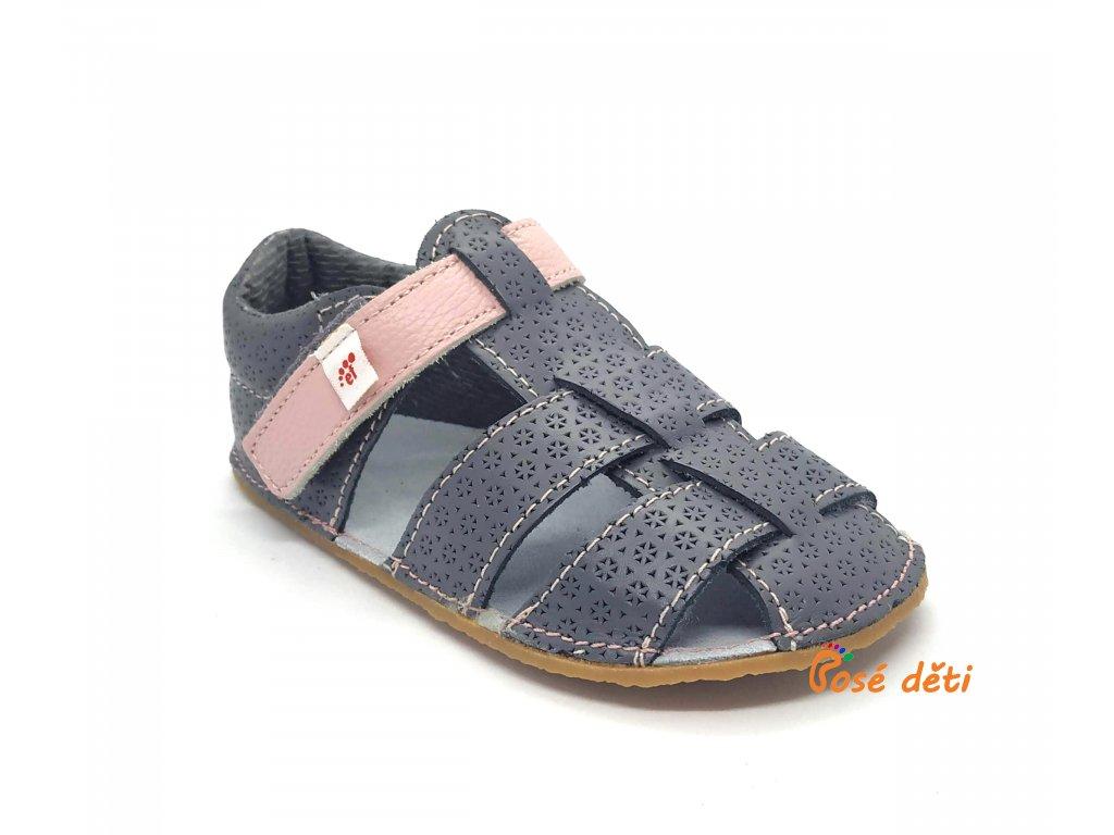 EF barefoot sandálky Šedá s růžovou