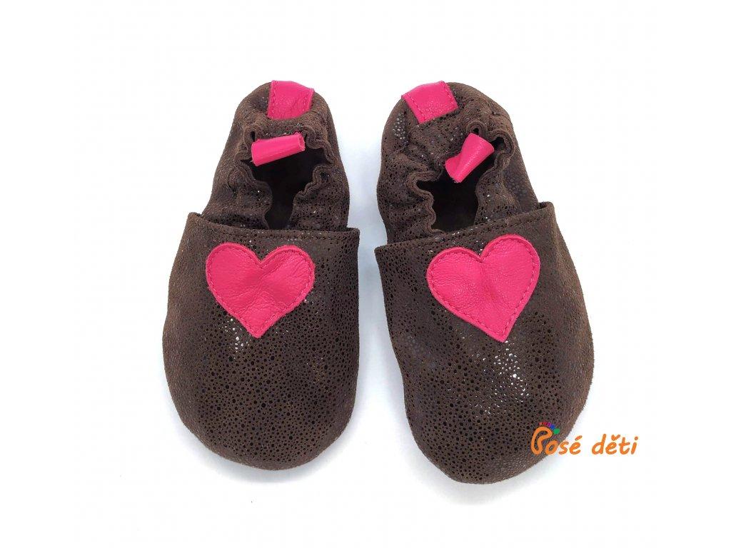 Bosé děti - hnědé bubliny s růžovým srdcem