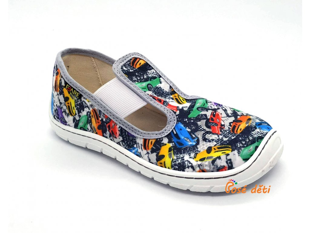Fare Bare 5101402 - papuče s gumou - šedé auta