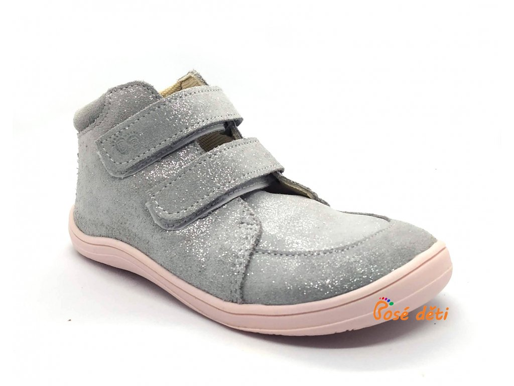 Baby Bare Shoes - FEBO Fall Grey/Pink