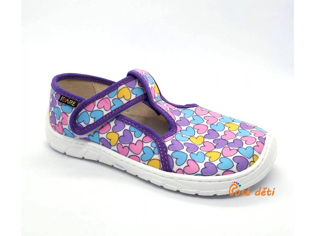 Fare Bare 5102492 - papuče na suchý zip - srdíčka