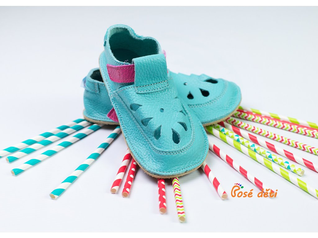 Baby Bare Shoes - Top Stitch Sandal Flower