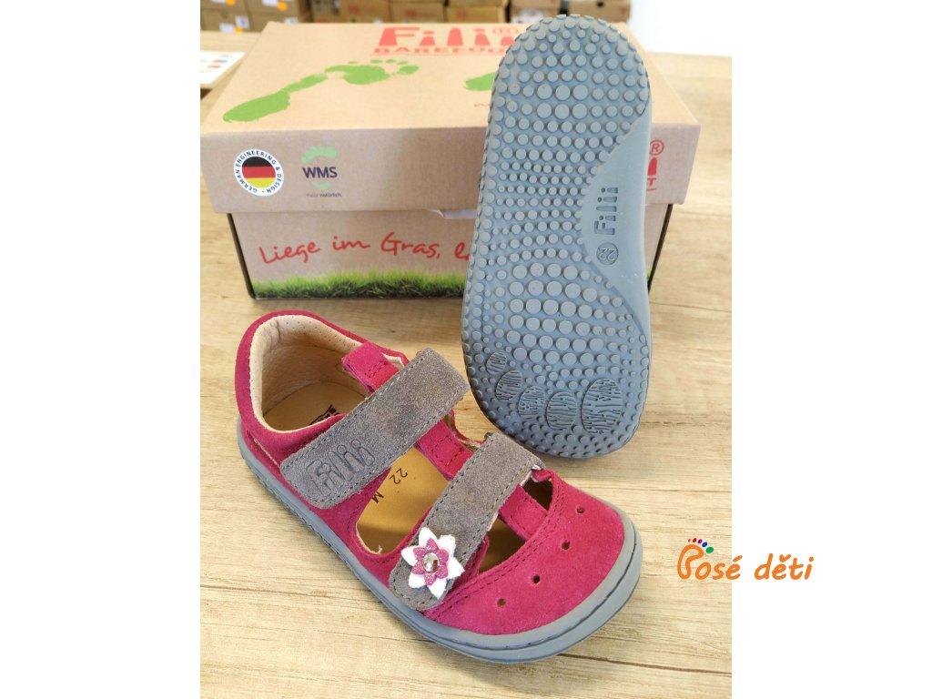 Filii Barefoot Kaiman Velours Pink/Grey M