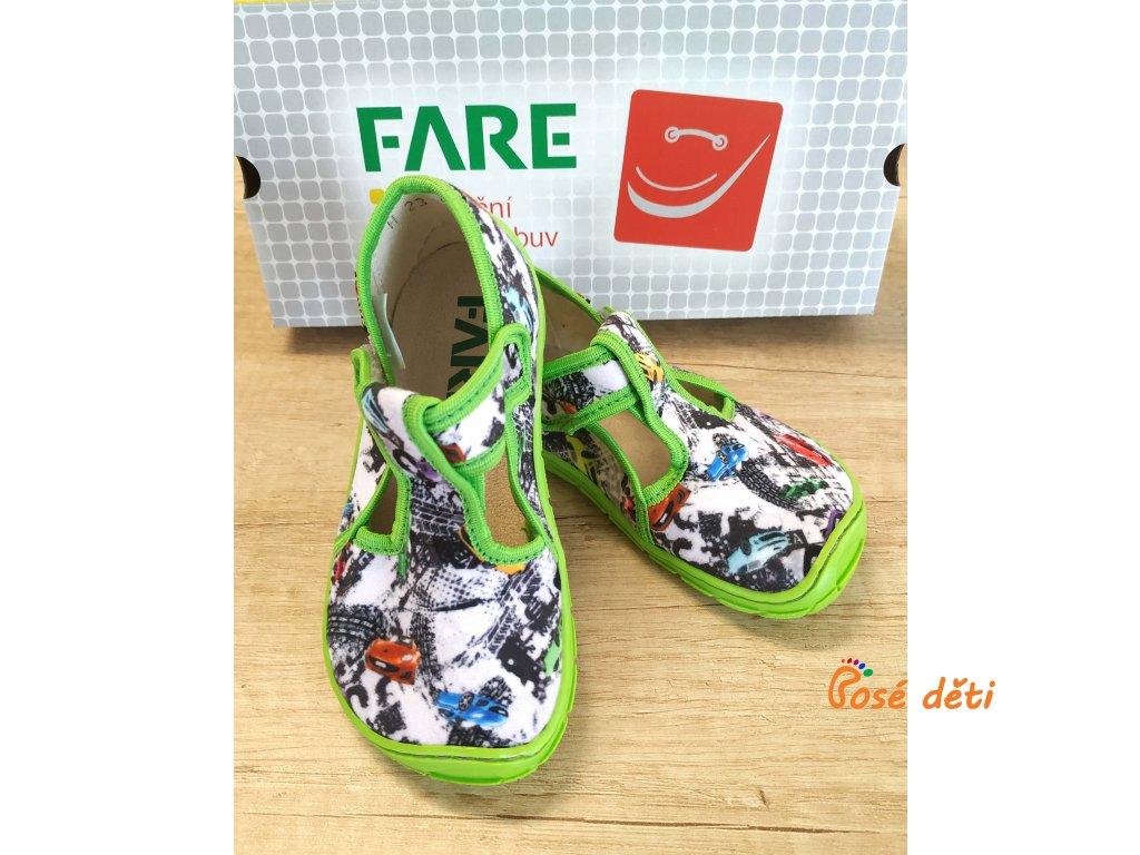 Fare Bare 5102431 - papuče na suchý zip zelené auta