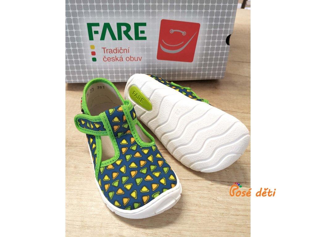 Fare Bare 5102432 - papuče na suchý zip zelené trojúhelníky