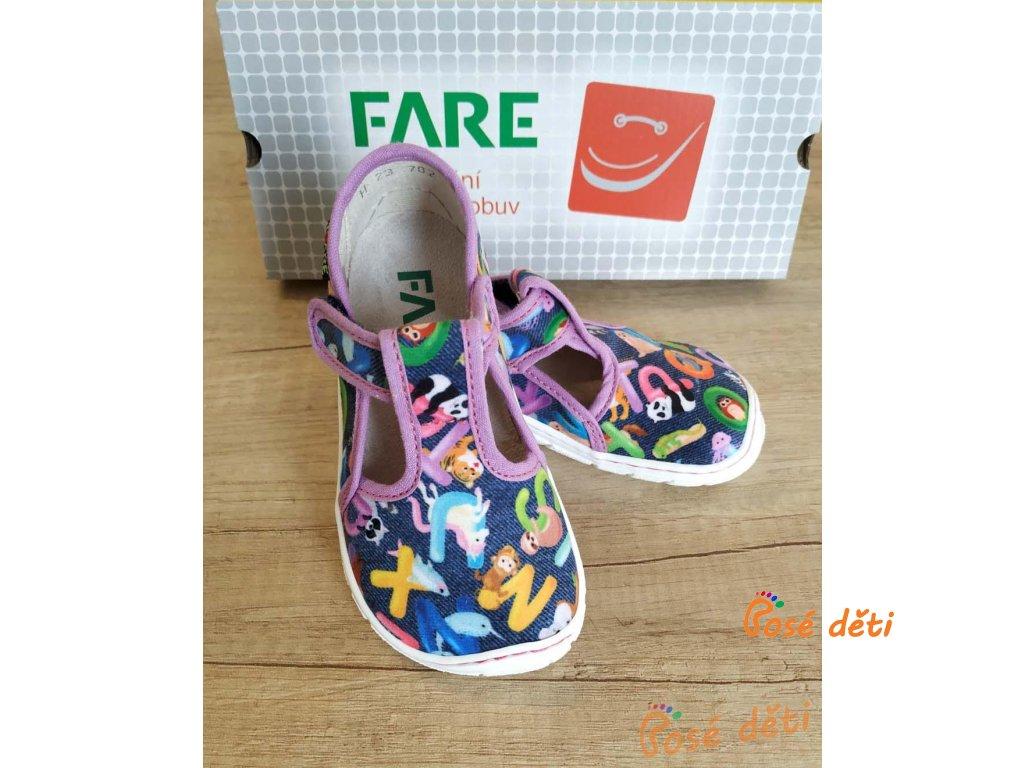 Fare Bare 5202491 - papuče na suchý zip fialové