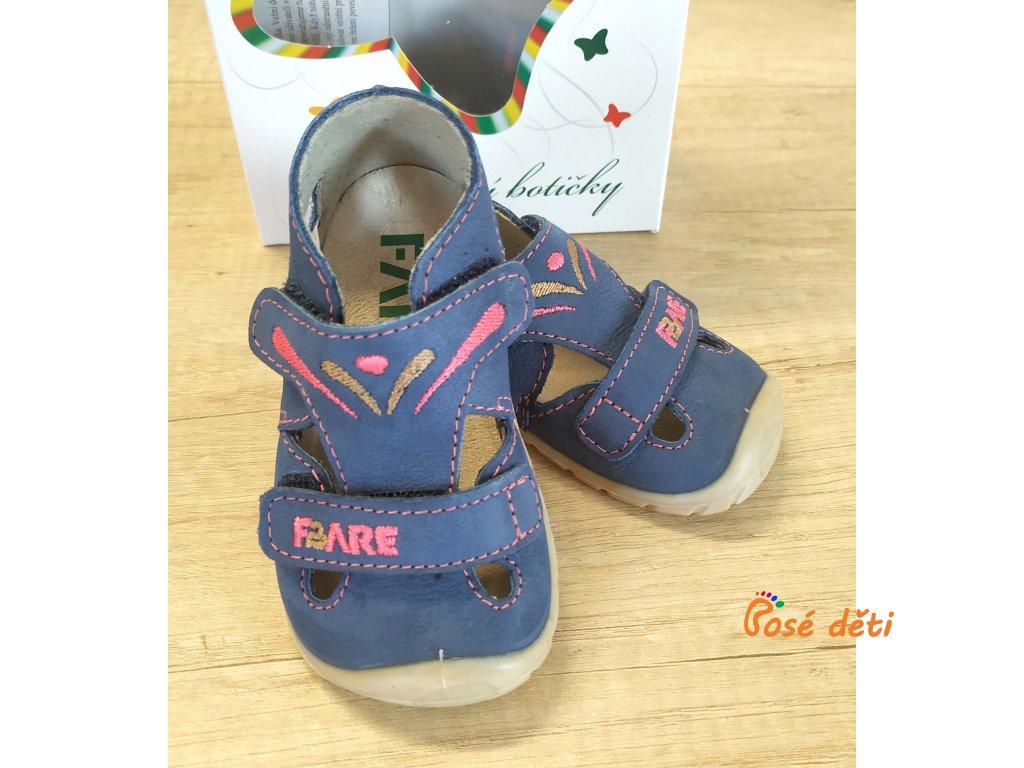 Fare Bare 5061251 - sandály kožené modrorůžové