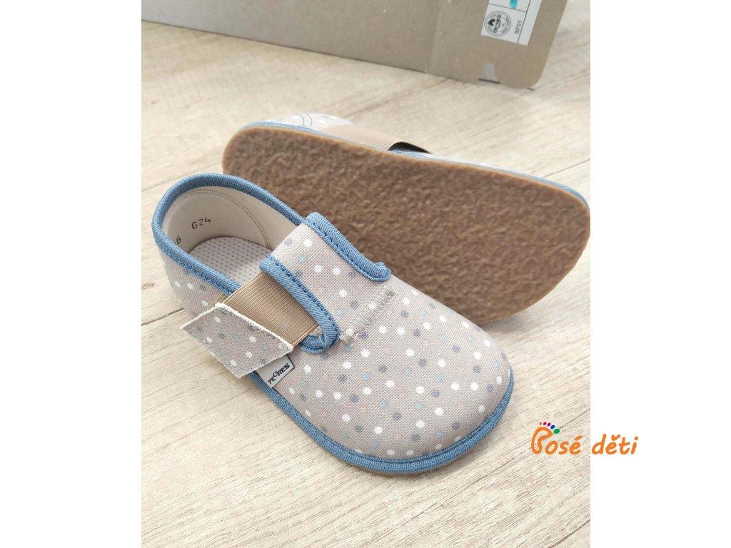 Barefoot Pegres papuče BF01 - modré puntíky