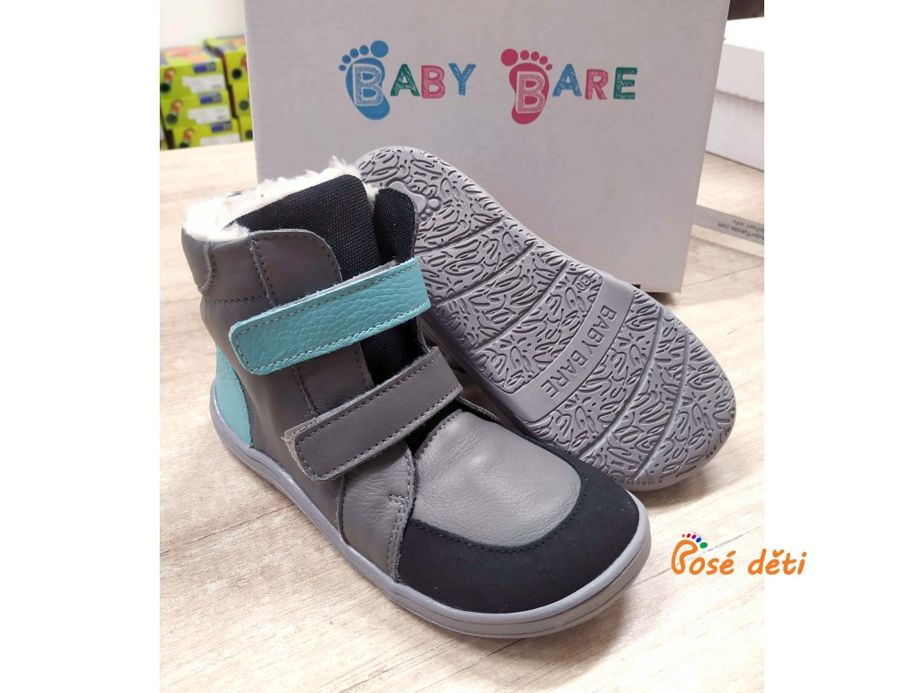 Baby Bare Shoes - FEBO Winter Grey/Tyrkys Asfaltico