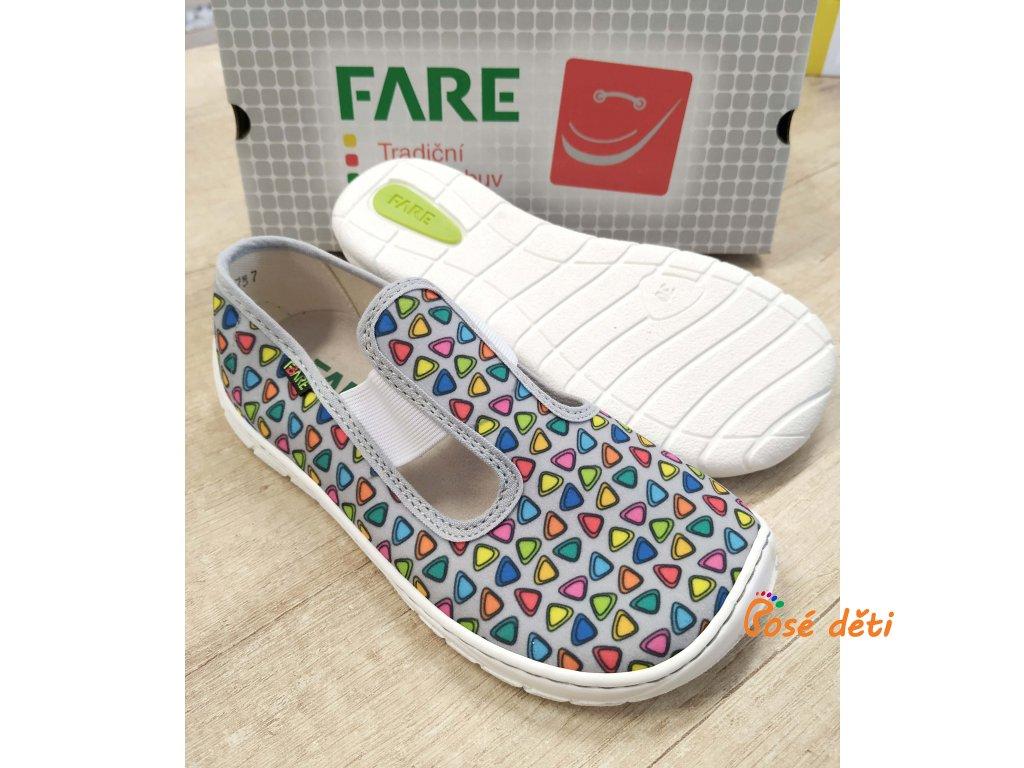Fare Bare 5101461 - papuče s gumou - šedé trojúhelníky