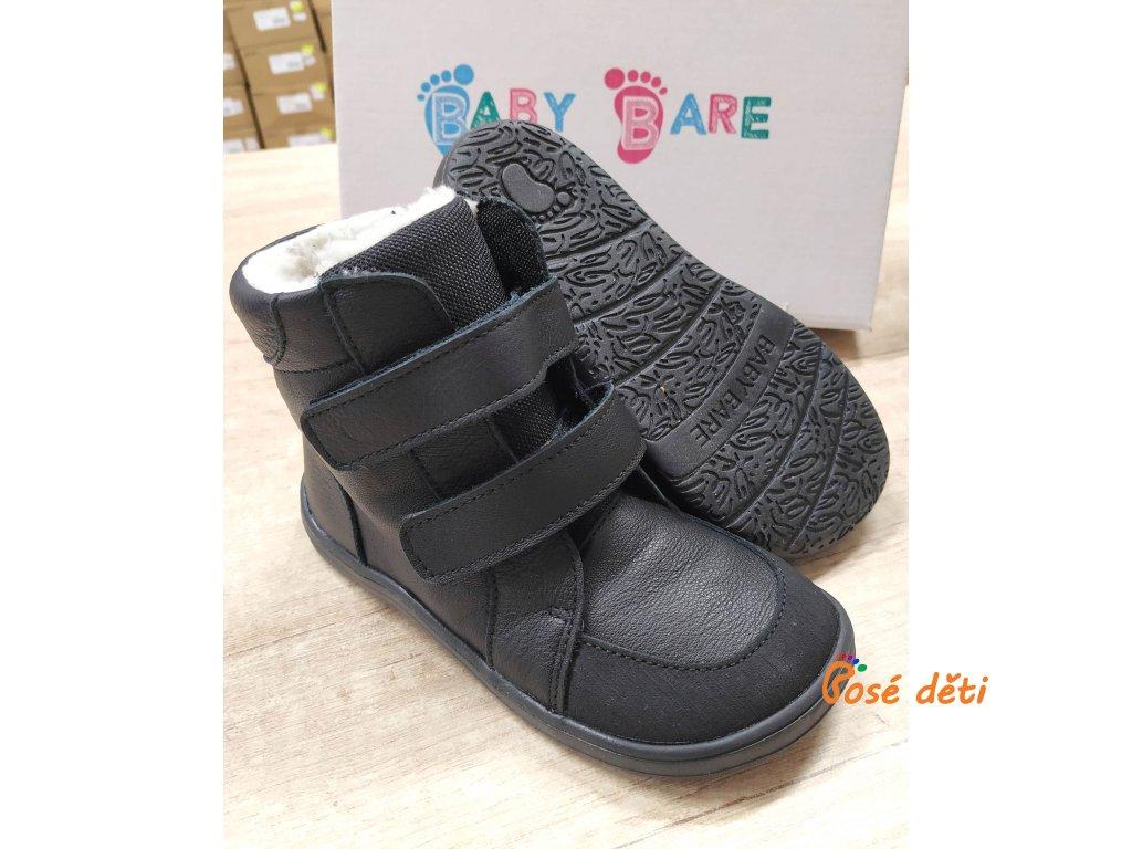 Baby Bare Shoes - FEBO Winter Black Asfaltico