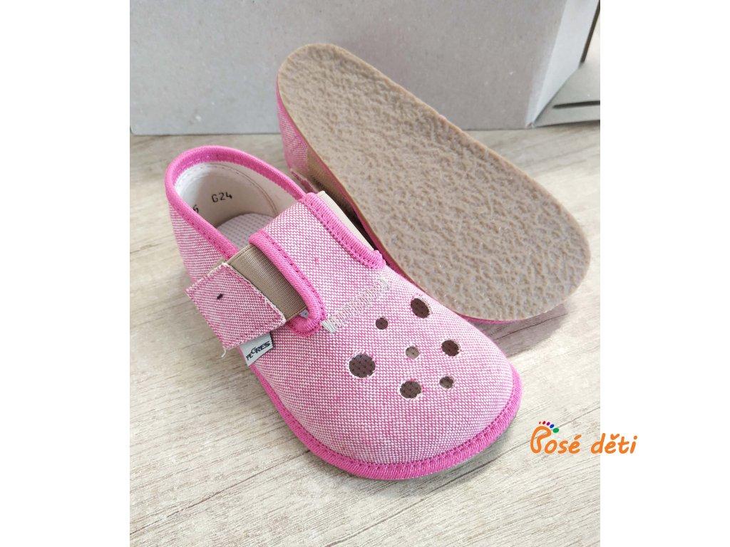 Barefoot Pegres papuče BF03 - letní růžové