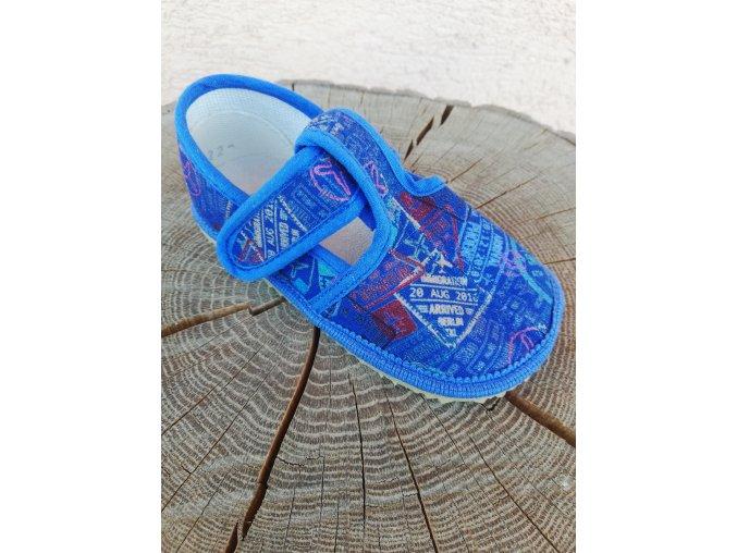 Beda bačkory BF 060010/W/02 modré nápisy - zúžené