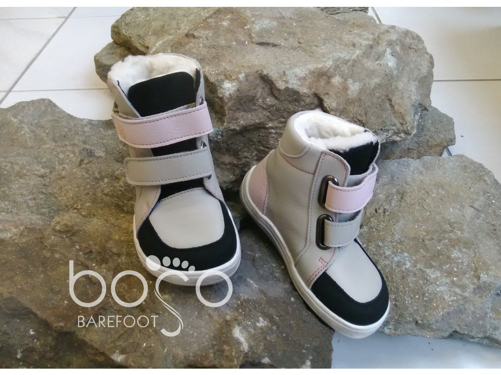baby bare shoes febo winter grey pink asfaltico 2