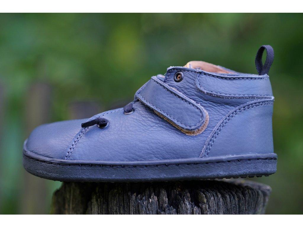 Pegres BF52 kožené kotníkové boty modré
