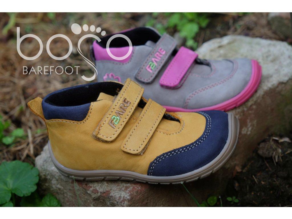 Fare Bare celoroční kožené boty 5121252 - šedorůžové s flísem