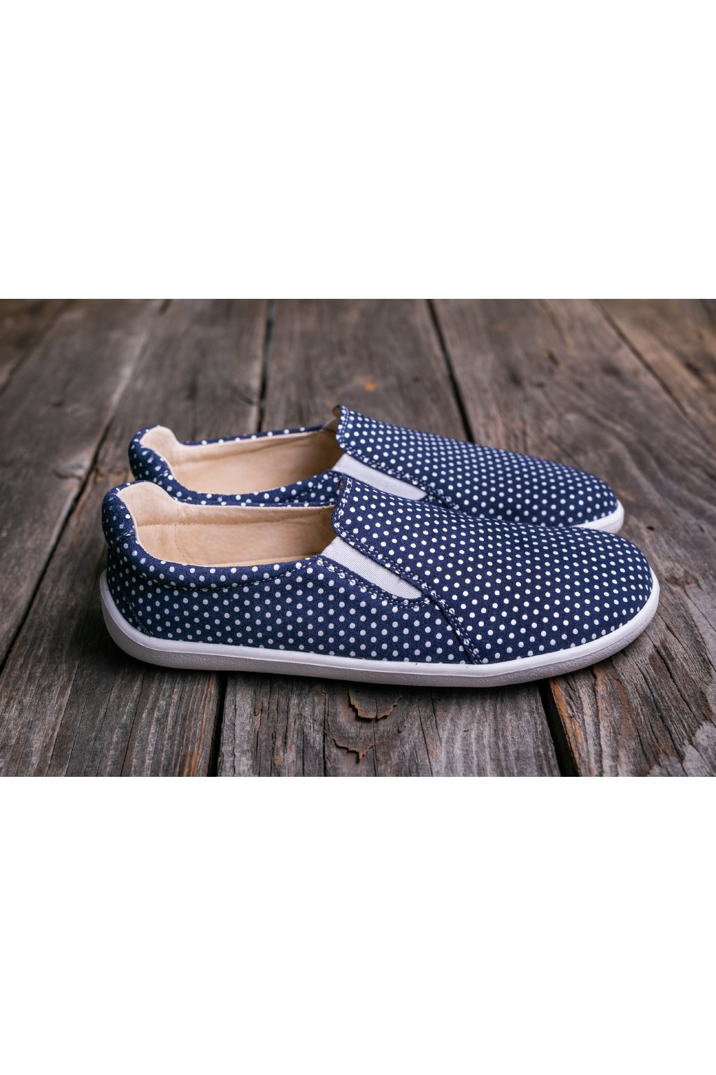 Be Lenka barefoot slip-on Eazy - Dark Blue with Dots