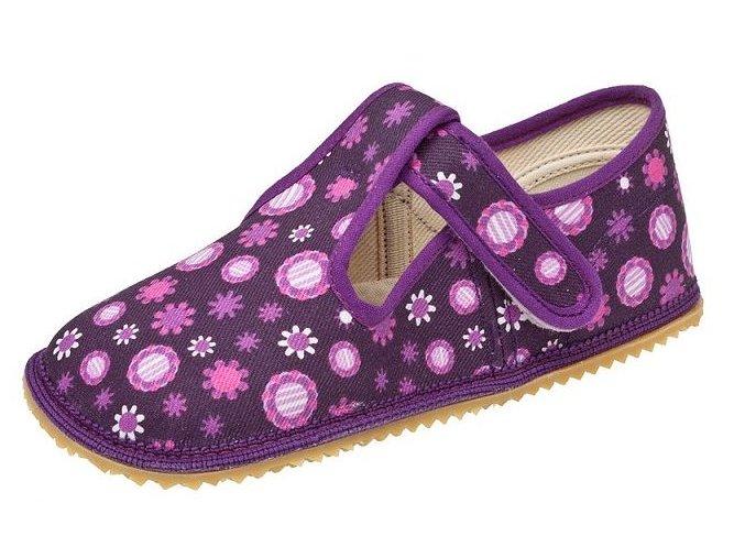 Beda Barefoot bačkůrky fialové kytky ŠIRŠÍ