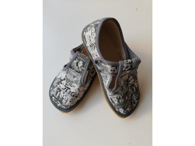 Beda Barefoot bačkůrky šedé nápisy