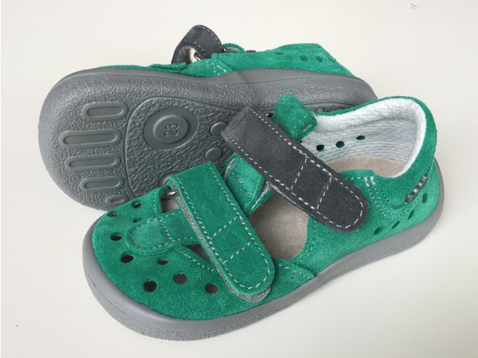 Beda Barefoot zelené sandály SAM 0001/SD/W