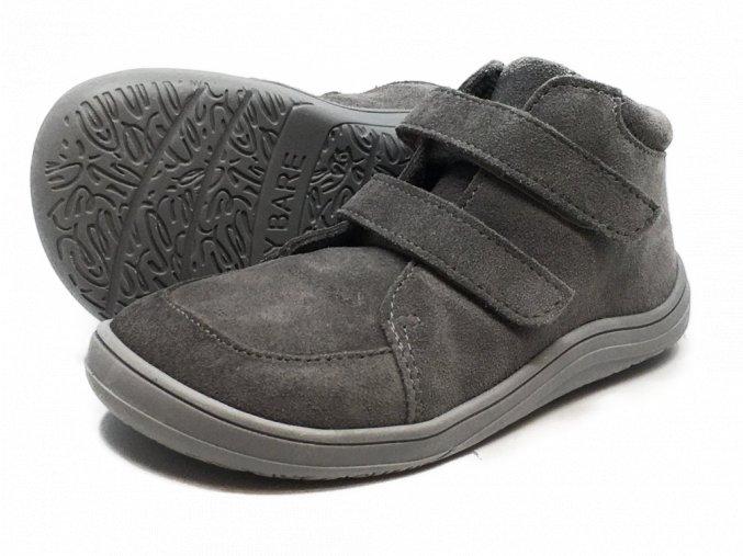 Baby Bare Shoes FEBO Fall Grey velur s membránou