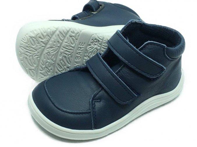 Baby Bare Shoes FEBO Fall Navy hladká kůže s mebránou