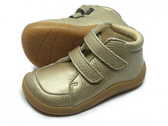 Baby Bare Shoes FEBO Fall Gold hladká kůže s mebránou