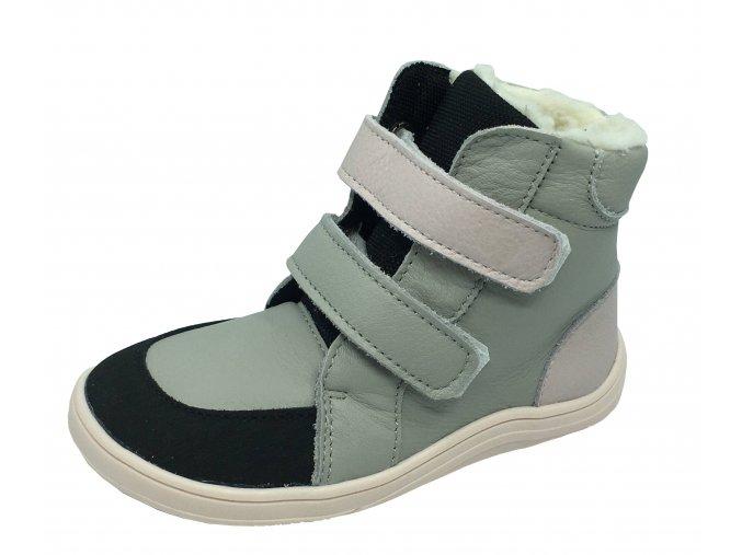 Baby Bare Shoes Febo Winter grey pink Asfaltico - zimní barefoot boty s membránou