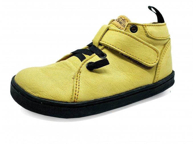 Barefoot Pegres Kožené celoročky BF52 žluté