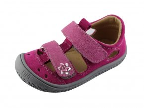 Filii barefoot Sandály KAIMAN velcro velours pink/grey M