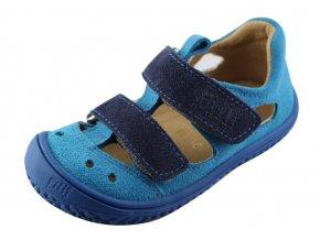 Filii barefoot Sandály Kaiman velcro velours turquoise/blue M