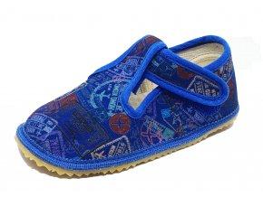 Beda Barefoot bačkůrky modré nápisy ŠIRŠÍ