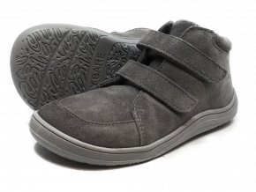 Baby Bare Shoes FEBO Fall Grey velur s membránou