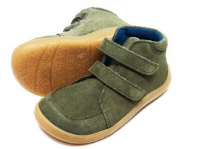 Baby Bare Shoes FEBO Fall Khaki velur s membránou