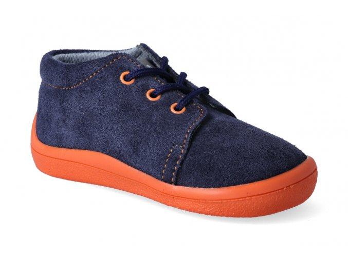 barefoot kotnikova obuv s membranou beda blue mandarine tkanicka 2
