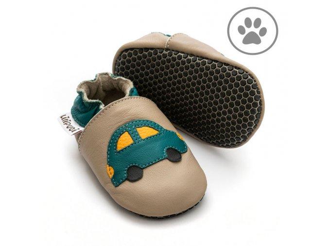 liliputi soft paws baby shoes green car 4261