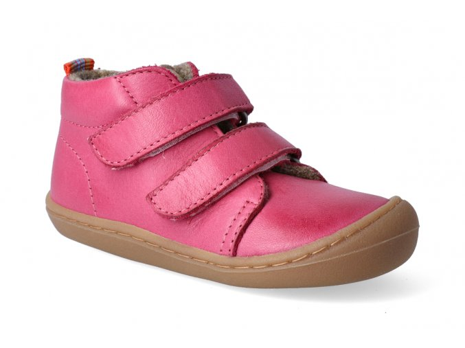 Barefoot kotníková obuv KOEL4kids - Korkid fleece fuchsia