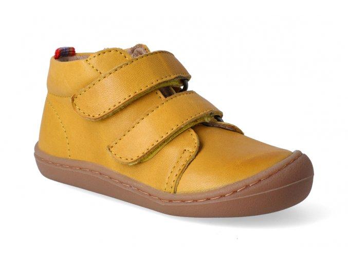 Barefoot kotníková obuv KOEL4kids - Korkid ocra